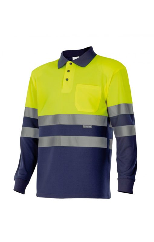 Comercial J30, Polo bicolor alta visibilidad de manga larga